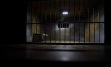 Jail Or Prison Cell. Old Grunge Prison Miniature. Dark Prison Interior Creative Decoration. Empty Cell. Selective Focus Obsolete Gray Grunge Concrete Room.