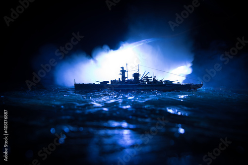 Silhouettes of a crowd standing at blurred military war ship on foggy background Wallpaper Mural