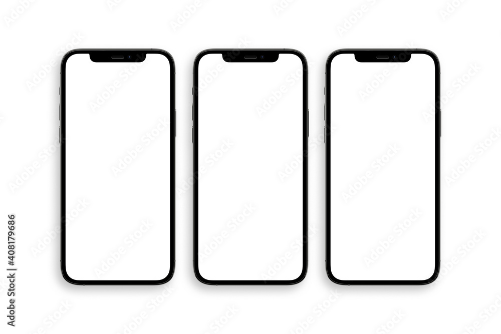 Fototapeta set of three iphone 12 pro with blank white screen top view