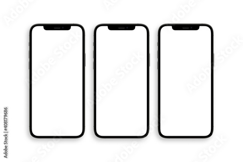 Obraz set of three iphone 12 pro with blank white screen top view - fototapety do salonu
