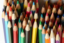 Macro Shot Of Wooden Colored Pencils