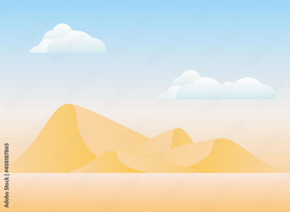 Fototapeta Polygonal landscape of desert mountains with clouds vector design