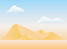 Polygonal Landscape Of Desert Mountains With Clouds Vector Design
