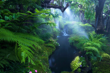 Beautiful green garden with waterfall.