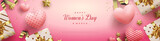 Women's day sale with illustration of 3d gift boxes and love balloons.