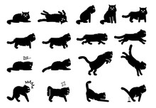 Persian Cat Poses, Postures, Emotions, And Actions Icons. Vector Illustration Of Cat Lie Down, Roll, Sitting, Standing, Sleep, Stalking, Stretching, Jumping, Running And Poop. Fierce And Angry Cat.