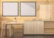 A couple of mock up poster frame in modern wooden interior background in dining room, 3D render, 3D illustration