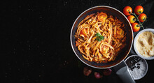 Pasta Bolognese In Frying Pan With Fresh Ingredient. Top View