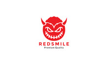 Devil Cute Smile Red With Horn  Logo Symbol Icon Vector Graphic Design
