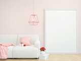 Fototapeta Kawa jest smaczna - valentine home interior, luxury wooden floor modern living room interior, light pink wall with a mock up poster frame,  couch and some flowers, 3d rendering