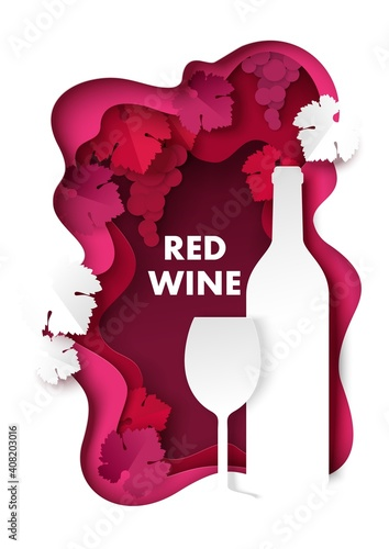 Cuadros en Lienzo Paper cut red wine splash with grapes, bottle and wine glass silhouettes, vector illustration