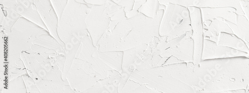 Fototapeta White abstract texture of surface covered with putty, panoramic image obraz
