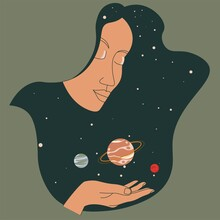 Female Character Holding Planets In Outer Space