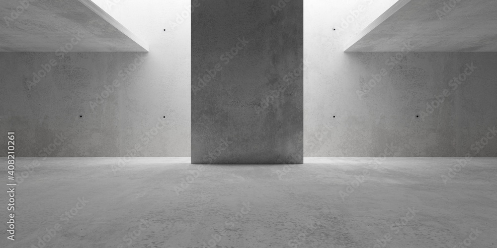 Fototapeta Abstract empty, modern concrete walls room with indirekt ceiling light and center wall - industrial interior background template