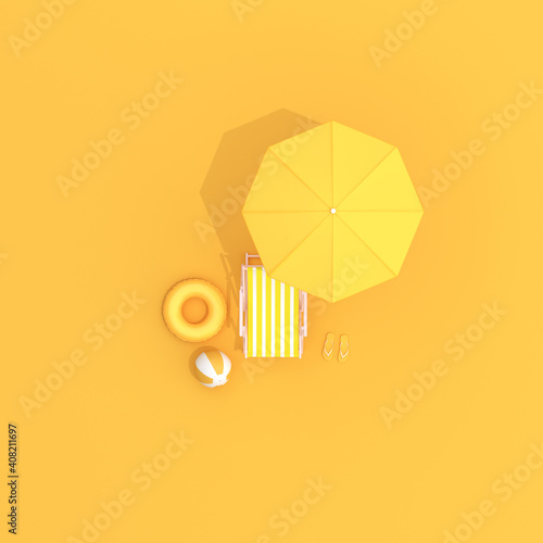 Fotografie, Obraz Top view of pool beach chairs and umbrella, Summer concept, Minimal scene
