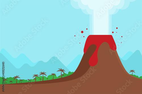 Tablou Canvas Vector Illustration of Volcano Eruption. Flat Design Style.