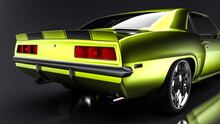 3D Realistic Illustration. Muscle Yellow Car Rendering On Black Background. Vintage Classic Sport Car. Back Side View. Rear Chrome Wheel And Back Bumper Closeup. Red Tail Lights. Two Mufflers.