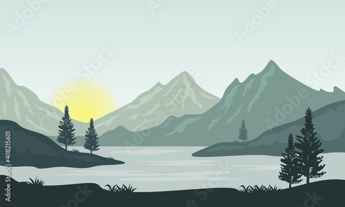 Photo Amazing nature scenery at sunrise on the river bank