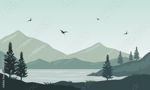 Very nice nature scenic in the river bank on a warm morning Wallpaper Mural