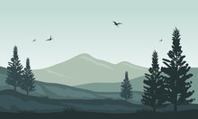 Beautiful View Of Nature In The Morning On The City Edge. Vector Illustration