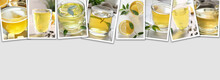 Glass Cups Of Hot Aromatic Tea On Light Background With Space For Text