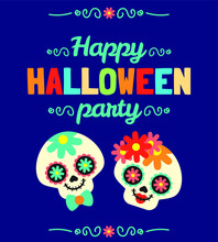 Cute Halloween Holiday Greetings Event Party Bat Ghost Ghoul Skull Characters