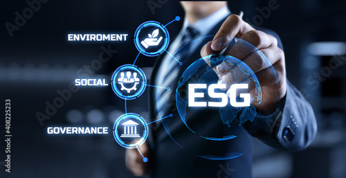 ESG environmental social governance business strategy investing concept. Businessman pressing button on screen. - fototapety na wymiar