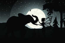 Fairy And Animal Silhouette