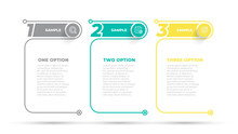 Business Infographic Design Number Options Template. Time Line With 3 Steps, Options. Vector Illustration.