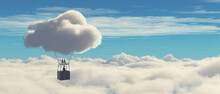Surreal Balloon Over Clouds