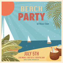 Beach Party Vintage Poster Invitation Card Template. Vector Illustration.
