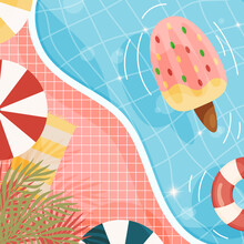 Cartoon Summer Beach Pool Background. With Ice Cream Float, Sea Stars And Palms. Vector Illustration