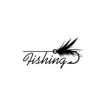 Fly Fishing Lure Icon Isolated On White Background. Word Fishing Sign