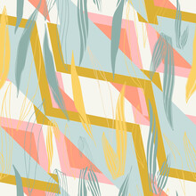 Stylized Flowers Hand Drawn Color Vector Seamless Pattern. Abstract Leaves, Sketch Drawing. Scandinavian Style Geometric Texture. Wrapping Paper, Textile, Background Fill