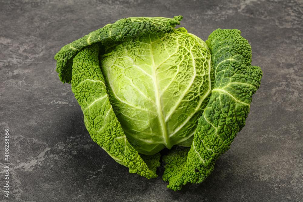 Fototapeta Organic Savoy Cabbage for cooking