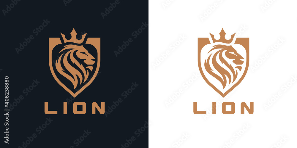 Fototapeta Lion head shield logo icon. Royal gold crown badge symbol. Premium king animal sign. Vector illustration.