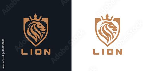 Lion head shield logo icon. Royal gold crown badge symbol. Premium king animal sign. Vector illustration.