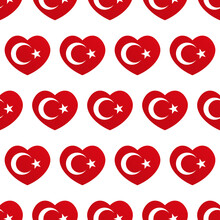 Vector Seamless Pattern Background With Heart-shapes Flags Of Turkey For Turkish Public And National Holidays.