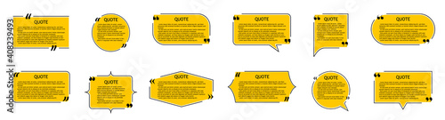 Obraz Quote of text in box. Quotation, comment, dialog with frame. Speech bubble in shapes with title, commas and borders. Template for memo and typography on design background. Banner of info. Vector - fototapety do salonu