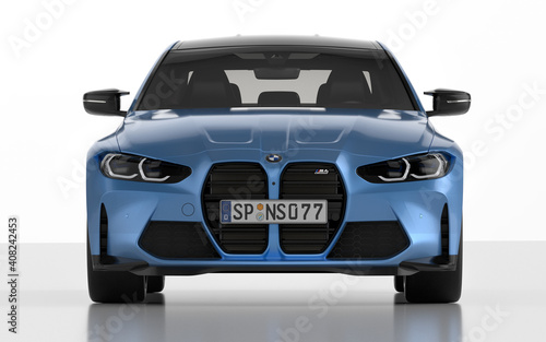 The new BMW M4 Competition sports car in the studio