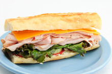 Deli Sliced Turkey Sandwich On French Bread With Tomatoes And Le