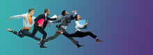 Evening. Happy Office Workers Jumping And Dancing In Casual Clothes Or Suit Isolated On Gradient Neon Fluid Background. Business, Start-up, Working Open-space, Motion, Action Concept. Creative Collage