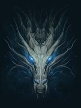 Dark Magic Dragon. Dragon Head On Abstract Blue Background. Digital Painting.