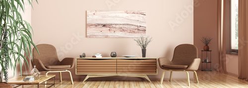 Obraz Interior of living room with armchairs and wooden sideboard 3d rendering - fototapety do salonu