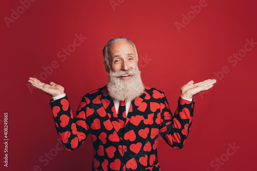 Canvas Print Photo of excited funny old man beaming smile raise palms wear heart print tuxedo