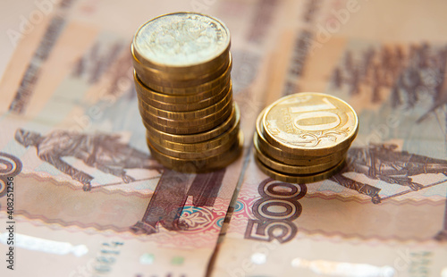 Russian edits and paper billsruble bills of 500 and coins of rubles 10 each Wallpaper Mural