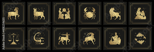Foto Zodiac astrology horoscope signs linocut silhouettes design vector illustrations