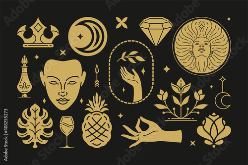 Esoteric magic and witch vector design elements set with female hands gestures Fotobehang
