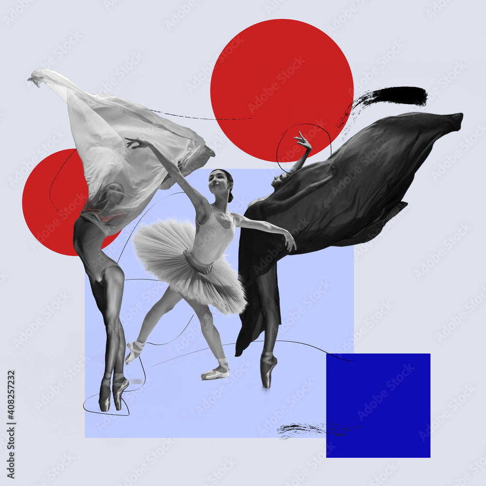 Fototapeta Flying bird. Ballet dancers with flying cloth. Copyspace. Modern design. Contemporary art. Creative conceptual and colorful collage surrealism style. Geometry figures background, red and blue