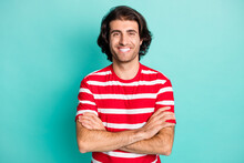 Portrait Of Attractive Cheerful Glad Content Brown-haired Guy Folded Arms Isolated Over Bright Green Turquoise Color Background